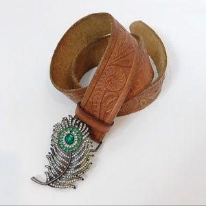 Hollister Brown Leather Embossed Belt BOHO